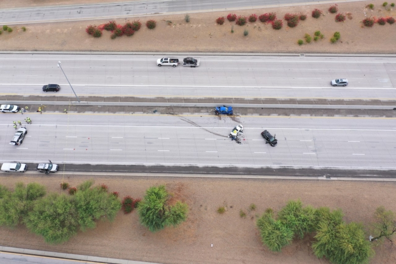 Overhead Photo of Fatal Collision on San Tan SR-202 Near Kyrene Road