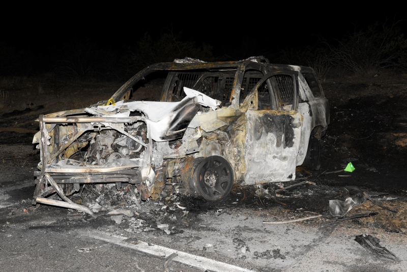 Burned out patrol vehicle