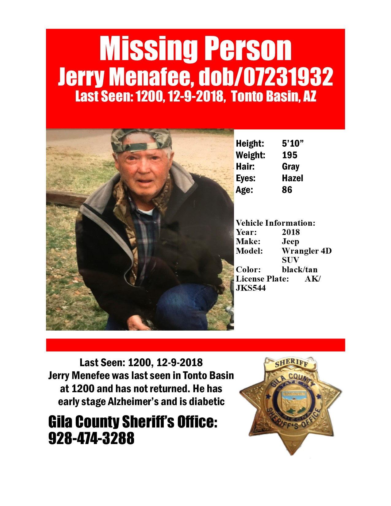 Silver Alert – Jerry Menafee – Gila Co. Sheriff's Office